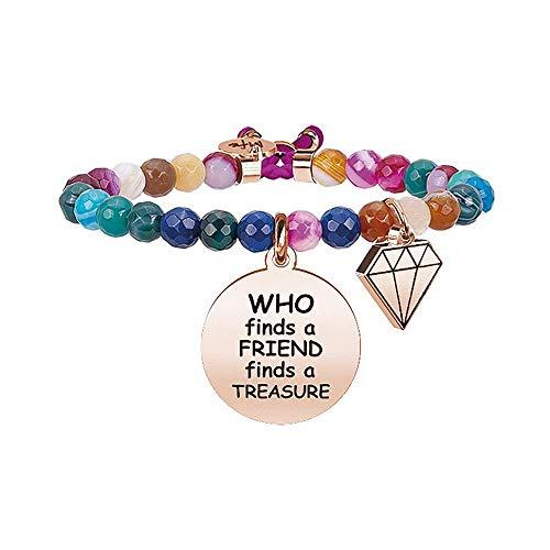 Kidult 731670 - Pulsera de acero inoxidable 316L y ágata con texto en inglés'Who Finds a Friend', color oro rosa