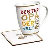 Ritzenhoff & Breker Kaffeebecher Bester Opa der Welt mit Untersetzer im Geschenkkarton, Geschenk-Set, 2-teilig