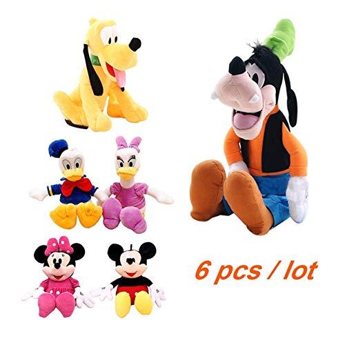 shenlanyu Juguete de Peluche 6pcs / Lot 30cm Mickey Mouse Minnie Goofy Dog Pluto Dog Donald Duck and Daisy Kawaii Stuffed Funny Toys Cartoon Illustration Kids Gift