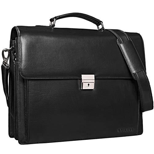 STILORD 'Johann' Klassische Aktentasche Herren Damen Schwarz Businesstasche 15,6 Zoll Laptop DIN A4 Ordner mit Schloss Echtes Rinds-Leder