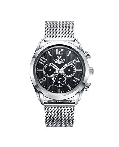Viceroy 471195-55 - Reloj para Hombre Multifunción Acero, Esfera Negra