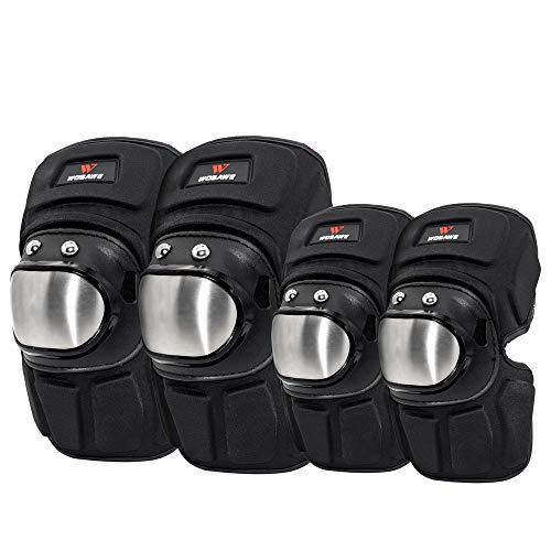 WOSAWE Protecciones de Rodilleras, Adultos Anti-caída Codos Protectores Acero Inoxidable Moto Kit de Protección (Coderas Cortas y Rodilleras)