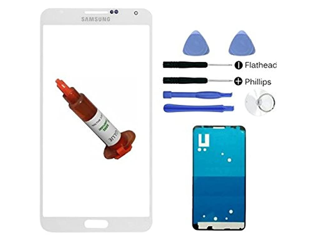 (md0410) White front outer glass lens replacement Compatible Galaxy Note 4 N910 N9100 + Adhesive + Tools Kit (LCD Digitizer screen not included)