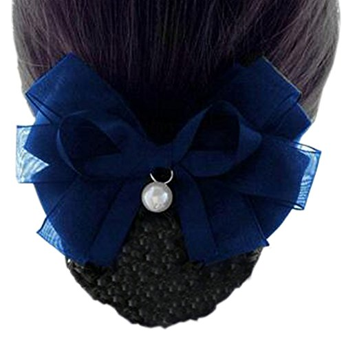 Maillot élastique à la mode pour dames Maillot de cheveux Hair Snood Bowtie Mesh, 2 Bleu