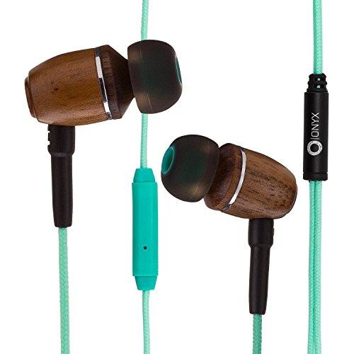 Onyx ELO Premium Genuine Wood in-Ear Noise-isolating Headphones|Earbuds|Earphones with Microphone (Turquoise Blue)