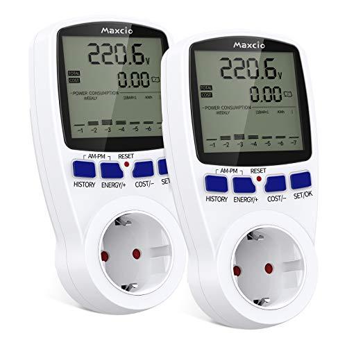 Stromverbrauchsmesser mit doppelter Rate, Maxcio-Plug-in-Stromkostenmesser mit LCD-Display, Überlastschutz, Datenaufbewahrungs-Leistungsmesser für Steckdose 3680W MAX, 2 Packs