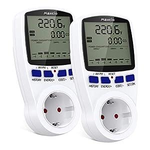 Medidor de Consumo Eléctrico con Dual Tarifa, Maxcio Enchufe Medidor de Costo de Electricidad con Pantalla LCD Reteción de Datos Medidor de Energía para Toma 3680W MAX, 2 Pack
