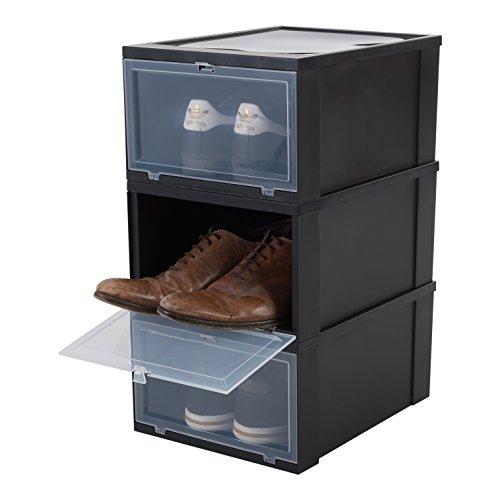 Amazon Basics EUDF-M Lote de 3 Cajas de Almacenamiento para los Zapatos, Negra, Medio