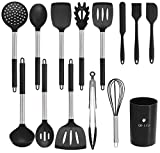 Upgraded Silicone Kitchen Utensils Set, Cooking Utensil Set 22 Pcs,GO-LILI Baking Tools,Non-Stick Heat Resistant Cookware with Holders, Cooking Turners Spatula,(Light Grey/Stainless Steel)