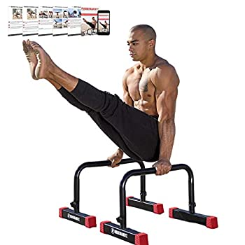 Rubberbanditz Parallettes Push Up & Dip Bars | Heavy Duty Non-Slip Parallette Stand for Crossfit Gymnastics & Bodyweight Training Workouts