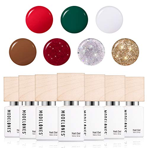 Modelones Gel Nail Polish Set - Red Green White Brown Gold Glitter Nail Polish Gift Box Soak Off UV LED...