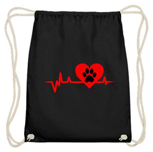 Hartlijnpoot - hond/kat liefde EKG Heartline hart - eenvoudig en grappig design - katoen gymsac
