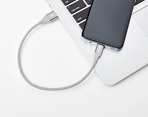 Amazon Basics - Verbindungskabel, USB Typ C auf USB Typ A, USB-2.0-Standard, doppelt geflochtenes Nylon, 0,3 m, Silber