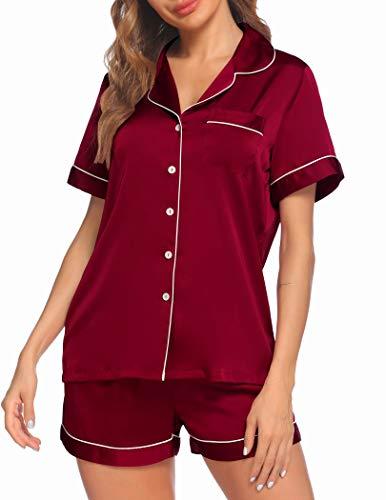 Ekouaer Sleepwear Set Women's Satin Short Sleeve Sleep Shirts with Short Lounge Shorts Silk Soft Pjs Set (Wine,M)