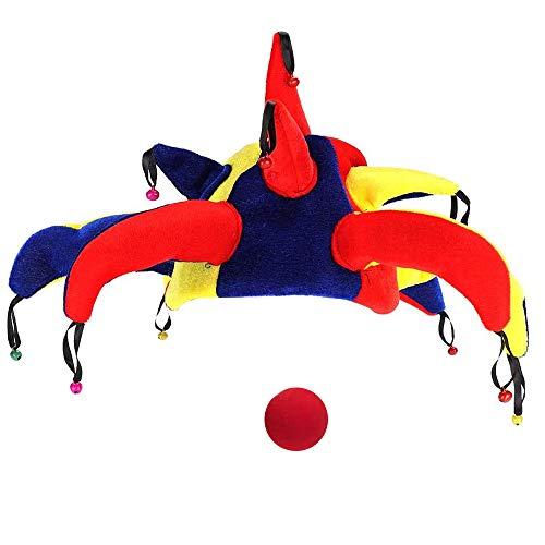Samantha Narrenkappe Clown Hut, Narr Hut mit Glocken, Spaßvogel Clown Nase, Karneval Lustiges Halloween-Kostüm, Party Cosplay Liefert Requisiten, für Erwachsene Kinder, Mehrfarbig