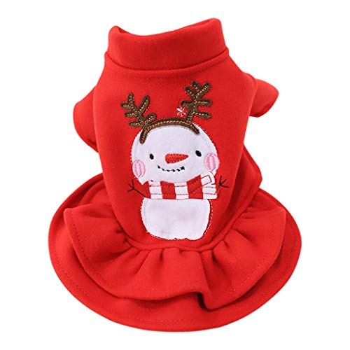 GorNorriss Fashion Snowman Christmas Pet Dress, Winter Comfort Cat Dog Clothing for Cold Weather, Xmas Gift for Kitten and Puppy Cosplay New Year Dressing up Party