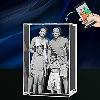 QIANRUNA Personalized 3D Laser Engraved Photo in Crystal Glass Cube for Couple Baby Pet Memorial Office Desk Plate Customizable