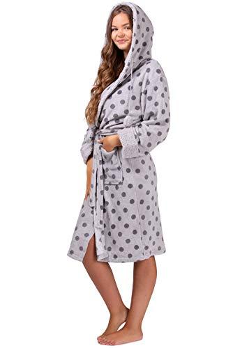 Mia Cossotta Damen Bademantel mit kuscheligem Coralfleece und Teddyfutter Fleecebademantel, Farbe:grau, Größe:L-XL