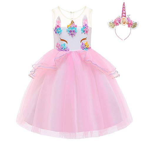 FONLAM Vestido de Fiesta Princesa Niña Bebé Disfraz de Unicornio Ceremonia Cumpleaños Vestido Infantil Flores Carnaval Niña Cosplay (Rosa, 12-24 Meses)