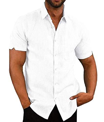 GRMO - Camicia estiva da uomo a maniche corte, con bottoni, in lino, tinta unita - Bianco - M