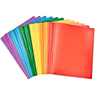 Amazon Basics Heavy Duty Plastic Folders with 2 Pockets for Letter Size Paper, Pack of 12