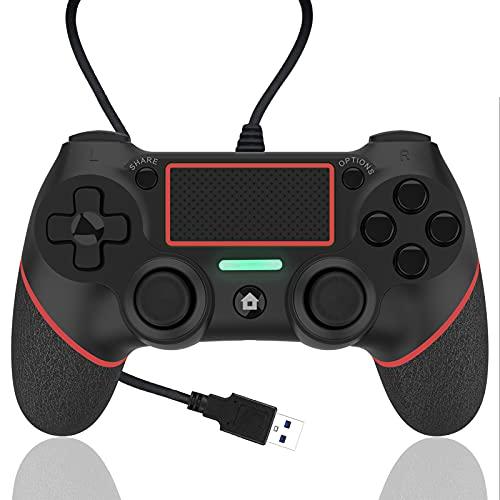 AQCTIM Manette de jeu pour PS-4, Manette filaire pour PS-4/Pro/Slim/PC/USB Gamepad Joystick 6 Gyro Double Vibration Prise Antidérapante(red)
