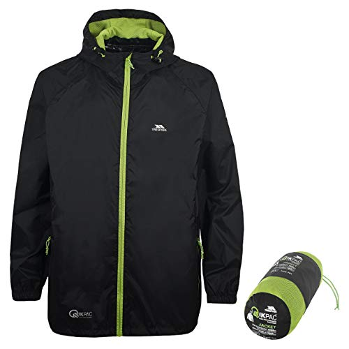 Trespass Unisex Erwachsene Qikpac Jacket Kompakt Zusammenrollbare Wasserdichte Regenjacke, Schwarz (Black), M