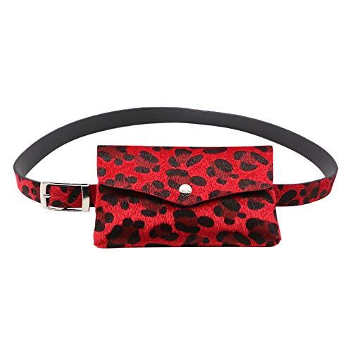 FRAUIT Damen Gürtel Mode Leopard Gürteltasche Pferdehaar Dekorative Taschen Dual-Use-Handytasche Geldbörse Mode Elegant Wunderschön Streetwear