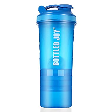3 in 1 Protein Shaker Bottle BPA-Free Sports Water Bottle With Twist and Lock Storage Leakproof Mix Shake Bottle 20 oz 600ml Blue
