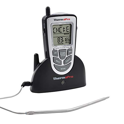 ThermoPro TP09 Wireless Remote Digital Meat Thermometer for Grilling Smoker Oven Food Grill BBQ Thermometer with Long Range, Instant Read Cooking Thermometer, Battery Included