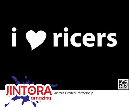 JINTORA Aufkleber für Auto/Autoaufkleber- I HEART RIVERS - Tuner Sport - 139mm x30mm - JDM/Die cut - Bus - Fenster - Heckscheibe - Laptop - LKW - Tuning - weiß