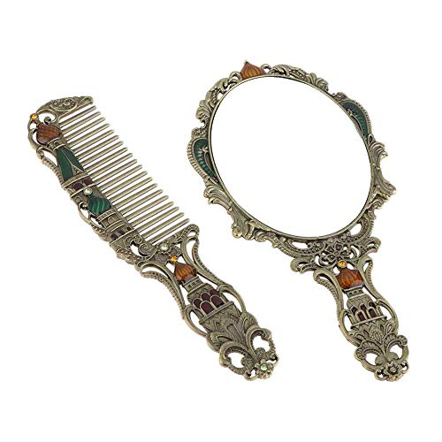 Tueu Peigne Miroir en Métal Cosmétique Outil de Beauté Brosse à Cheveux Styling Cadeau pour Mère Amie