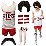 AHR LTD @ - Disfraz vintage unisex de corredor de maratón de 118 información telefónica para despedida de soltero/a
