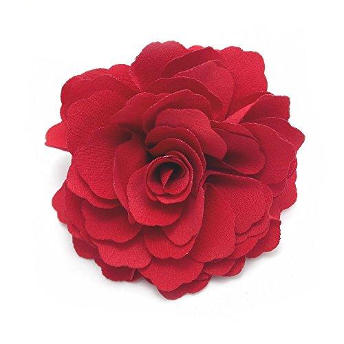 Meilliwish Camélias Une fleur Pince à cheveux Broche (Rouge) (A74)