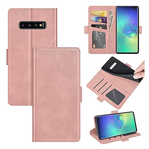 AKC Cover Samsung Galaxy S10 Custodia in Pelle Portafoglio con Supporto Cover a Libro Magnetica Caso Flip Pieghevole Caso Libro in Pelle PU-Oro Rosa
