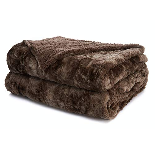 The Connecticut Home Company Faux Fur Bed Throw Blanket Queen or Full, 90x90, Many Colors, Soft Large Luxury Reversible Blankets, Warm, Washable Throws for Couch or Beds, Brown Tie Dye