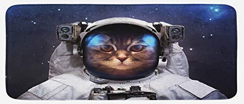 ABAKUHAUS Gato Espacial Tapete para Cocina, Traje del Gatito en el Cosmos, con Superficie de Felpa Estampada Dorso Antideslizante, 48 cm x 120 cm, Azul Marino y Blanco