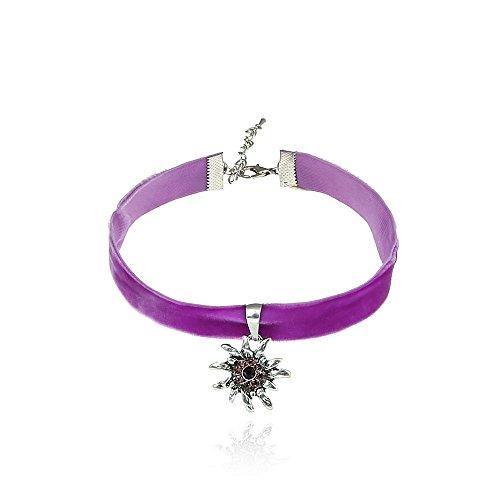 Alpenklunker Halsband Choker Kropfband Edelweiß viele Farben passend zum Dirndl Tracht Schmuckrausch Farbe Lila