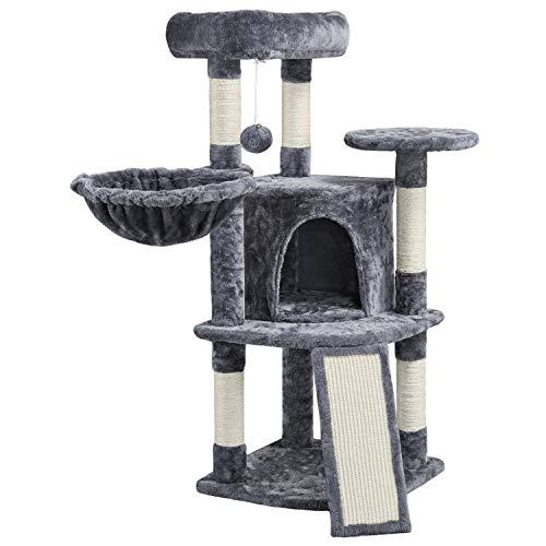 Yaheetech Kratzbaum Kleine Katzenbaum Katzenkratzbaum mit Katzenhöhle Kratzbrett Stabil Katzenmöbel für Katzen, dunkelgrau