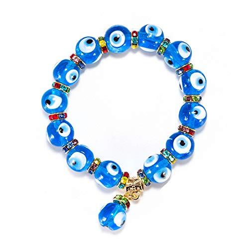 CHIY-GBC Lucky Eye Glass Evil Eye Abalorios Pulsera Azul Stand Pulsera Brazalete para Mujeres Hombres joyería turca