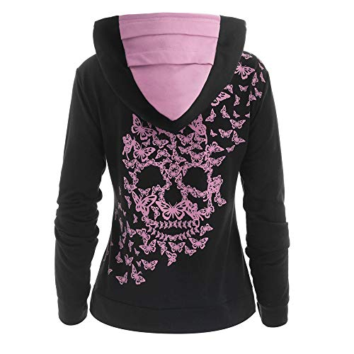 SHINEHUA Hoodie Oberteile Damen Kapuzenpullover mit Kängurutasche Sweatshirt Schmetterling Skull Langarm Sweatshirts Streetwear Pullover Tops Langarm Hoodies T-Shirt Bluse Langarmshirts