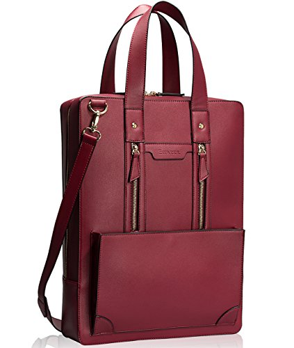 Estarer Women Laptop Bag 15.6' Briefcase Large Satchel Handbag for Work Office Wine Red