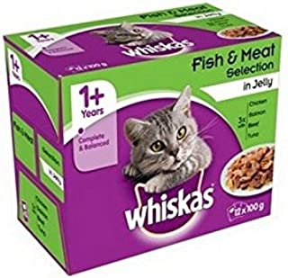 WHISKAS 1+ Adult Cat Food Pouches Fish and Meat Selection in Jelly 12 x 100g (1.2kg)