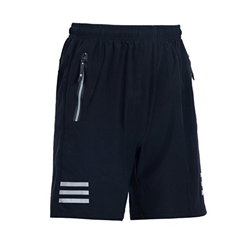 ZODWICD Men's Running Shorts Quick Dry Breathable Sports Shorts with Zipper Pockets Gym Shorts for Workout, Training Black