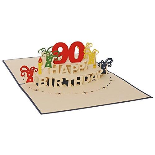 Favour Pop Up Glückwunschkarte zum runden 90. Geburtstag. Ein filigranes Kunstwerk, das sich beim Öffnen als Geburtstagstorte entfaltet. ALTA90B
