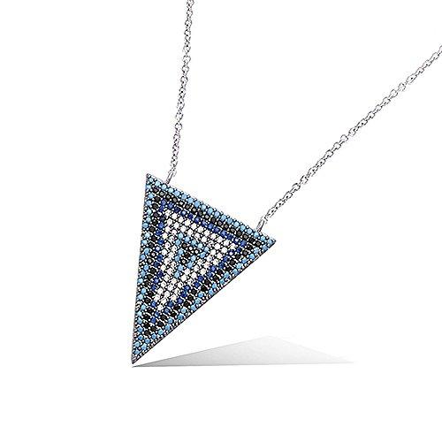 Collar de plata 925/000 rodiada – Colgante triángulo con óxido de circonio blanco, negro y turquesas y zafiros