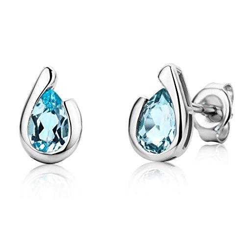 Miore Ohrringe Damen tropfen Ohrstecker mit Edelstein/Geburtsstein blauer Topas 1.05 ct aus Weißgold 9 Karat / 375 Gold