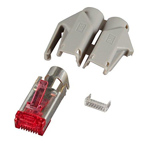 BIGtec 20 x RJ45 Stecker TM21 Hirose CAT.6 grau Crimpstecker RJ-45 Modular Plug Ethernet LAN Kabel Steckverbinder Netzwerkstecker geschirmt CAT6