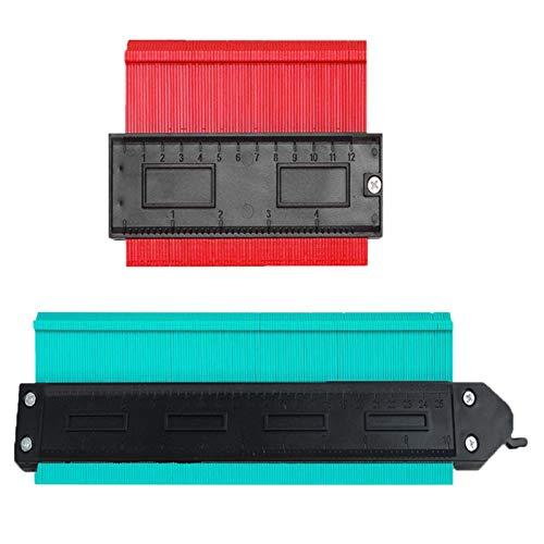 型取りゲージ 2点セット(120+250mm)測定ツール 曲線定規 DIY用 不規則な測定器 コンターゲージ セルフロック式 角取り 隅合せ 輪郭コピー (赤+緑)
