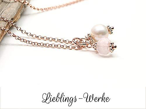 Kette mit Rosenquarz & Akoya-Perle Sterlingsilber rosevergoldet, Rosenquarzkette, Kette mit Perle, Kette roségold